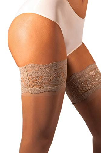 08b20e5cd sofsy Lace Sheer Thigh-High Stockings Pantyhose w Hold-Up Silicone - 15 or  20 Denier  Made in Italy