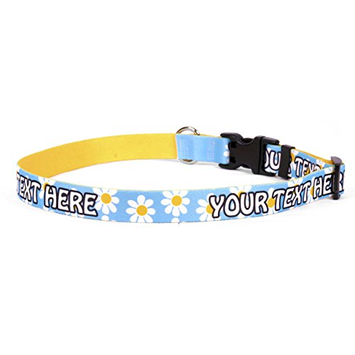 Blue Daisy Personalized Dog Collar - Small 3/4