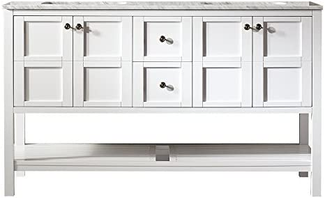 Vinnova 713060-WH-CA-NM Florence 60 Vanity Carrera White Marble Countertop Without Mirror