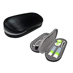 Dual Glasses and Contacts Case - Double Sided 2 in 1 Clamshell Hard Case for Eyeglasses and Contact Lenses with Mirror – Black with Gray Insert - by OptiPlix