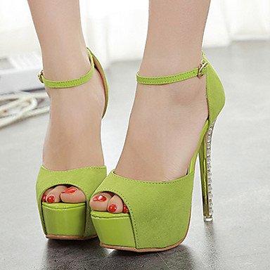 Heels Leather Sundalen Green Cirior Toe Women Women's Faux Free Heel High OWxgqYa