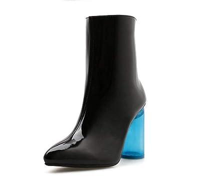 10Cm Cristal Azul Grueso Talón Tobillo Botines Mujeres Puntiagudos Dedo Puro Color Vestido Boot OL Moda