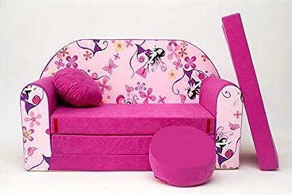 Pro cosmo h10 divano letto con pouf poggiapiedi cuscino in tessuto