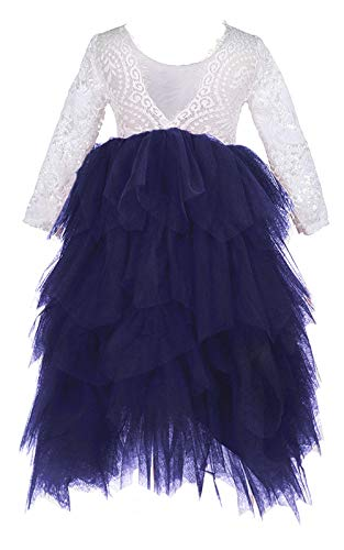 2Bunnies Girl Peony Lace Back A-Line Tiered Tutu Tulle Maxi Flower Girl Dress (Navy Long Sleeve Maxi, 24M/2T)