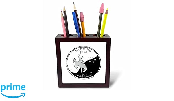 3dRose ph/_56987/_1 Wyoming Collectible Quarter Tile Pen Holder 5-Inch
