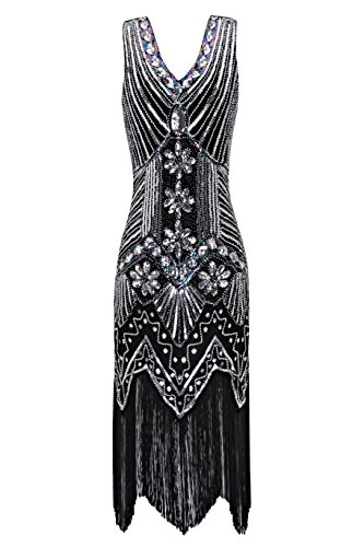 Metme Women's 1920s V Neck Beaded Fringed Gatsby Theme Flapper Dress for Prom,Black+silver,Small -