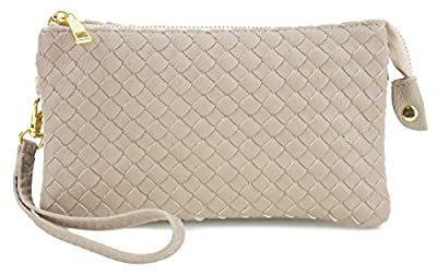 Proya Collection Classic Soft Woven Leather Wristlet Clutch