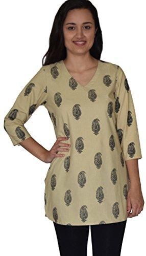 Ayurvastram KRITI Hand Block Printed Cotton V Neck Tunic: Cream S