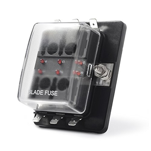 MICTUNING LED Illuminated Automotive Blade Fuse Holder Box 6-Circuit Fuse Block with Cover