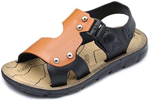 PPXID Boy's Open Toe Rivet Buckle Outdoor Casual Sandbeach Sandals-Brown 2 US (2 Buckle)