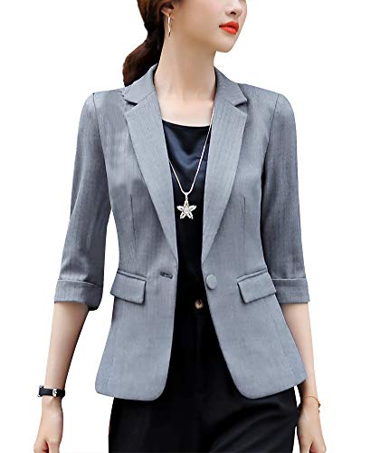Women's Solid Work Office Blazer Jacket Slim Fit One Button Blazers for Women