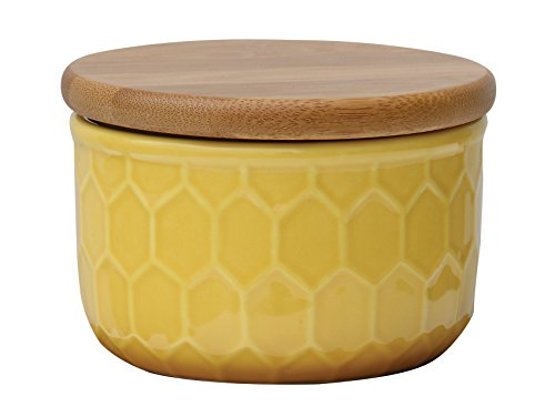 creative-co-op-ceramic-canister-with-honeycomb-wood-lid-yellow-medium