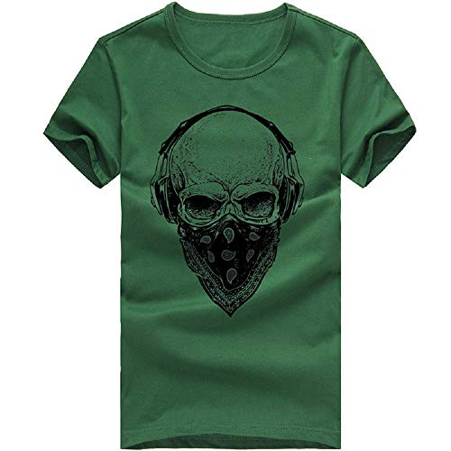 Funnygals Mens Casual Cool T Shirt - Boys Skull Cotton Short Sleeve Pollover Sports Shirt - Funny T-Shirts Tops Hoodie Green