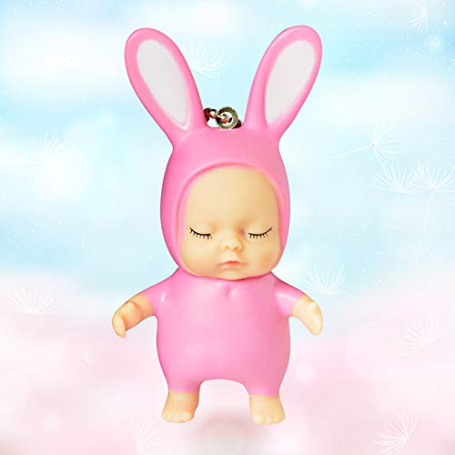 Cute Sleeping Baby Doll Rubber Pendant Keychain Keyring Baby Toy ()