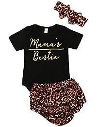 Bib Short Pants Headband VISGOGO 3PCS Newborn Baby Girls Outfits Clothes Set Floral Romper