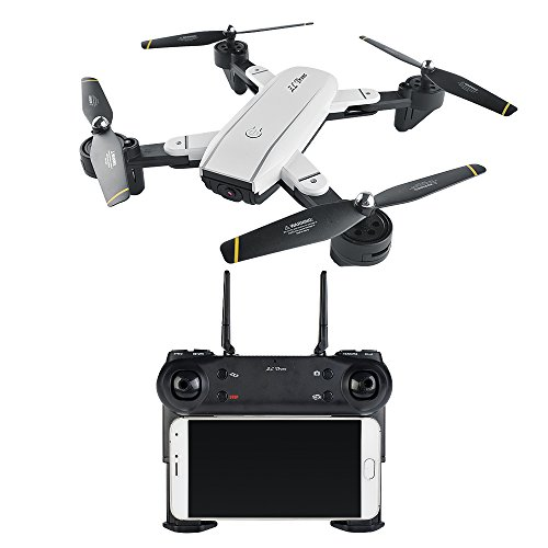 Amazingbuy FPV RC Quadcopter Foldable WIFI RC Drone Dual 2.0MP HD Camera 2.4G 4CH 6-Axis Altitude Hold Auto Home RC Helicopter,Optical Flow,V-sign,Double Camera Switch (1 Battery)