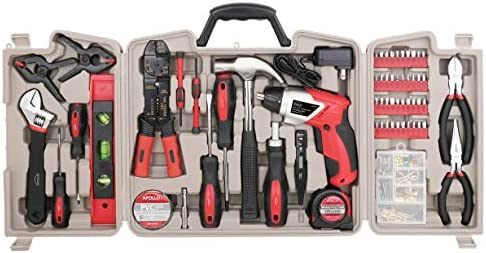 APOLLO TOOLS 161 Piece Complete Household Tool Set with 3.6 Volt Lithium-Ion Cordless Screwdriver and Most Needed Handtools Selection for Boats, Vehicle and Garage – DT0739