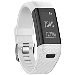 Garmin Vivosmart HR+ Watch Band, Forthery Silicon Leather Replacement Strap Wrist Band Watchband (White)