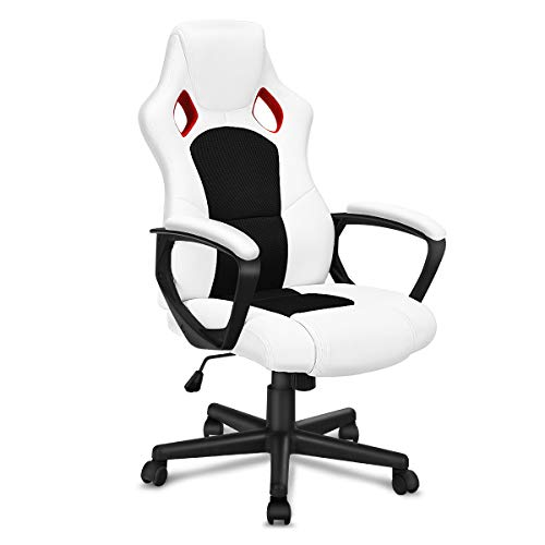 Giantex Executive Racing Style Chair High Back Office Chair Bucket Seat Computer Desk Task (White&Black)
