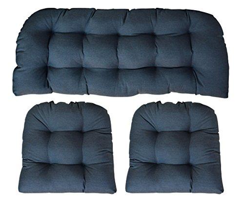 (RSH Decor Sunbrella Heritage Denim Large 3 Piece Wicker Cushion Set - Indoor/Outdoor Wicker Loveseat Settee & 2 Matching Chair Cushions -)