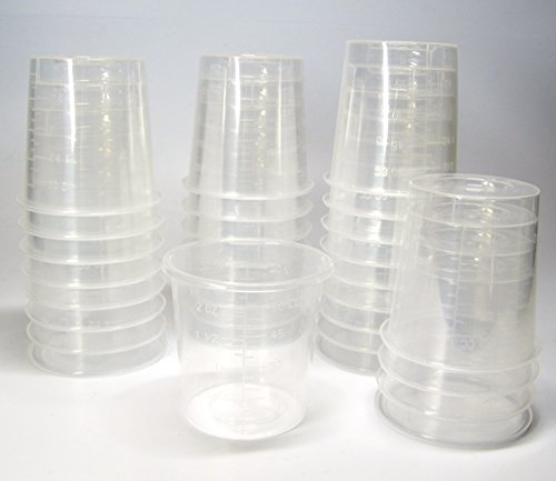 30 2oz Disposable Graduated Clear Plastic Cups for Mixing Paint, Stain, Epoxy, Resin