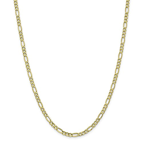 10k Yellow Gold Polished 4.4mm Semi-Solid Figaro Link Chain Bracelet 8'' by Venture Gold Jewelry Collection