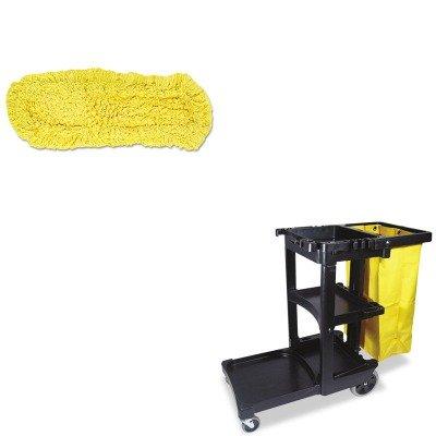 kitrcp617388bkrcpj15200yel – Valueキット – rubbermaid-dust Mop、Trapper、ループ、1 8 X 5 (rcpj15200yel) とRubbermaidクリーニングカートwithファスナー付きイエロービニールバッグ、ブラック(rcp617388bk) B00MOOWGZC