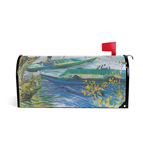 Unicey Van Gogh Anglers and Boats Magnetic Mailbox Cover Mail Letter Box Cover Wraps Post Box Covers, 20.8 x 18 inch