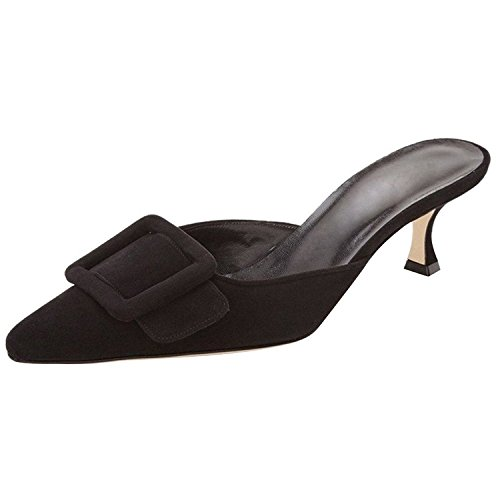 Kmeioo Heeled Mules for Women, Pointed Toe Slingback Pumps Buckle Kitten Heels Mules Slides Backless Dress (Kitten Mule)