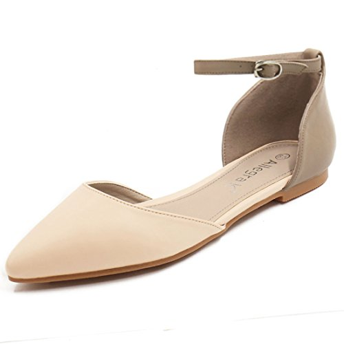 12bd9dc38ce Allegra K Women Pointed Toe Color Block Open Sides Ankle Strap Flats ...