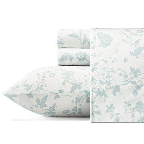 (Laura Ashley Garden Palace Cotton Sateen Sheet Set Queen Pastel Blue)
