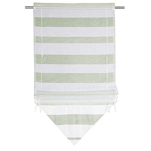 Albani Bändchenrollo, 100% Polyester, 120 x 60 cm (H x B), fertig konfektioniert, 1 Stück, Willkommen Zuhause Darian, Weiß-Hellgrün, 271713