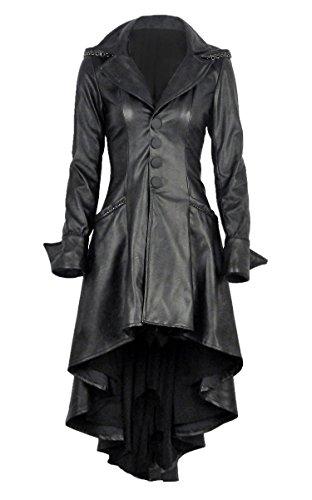 Longue Manteau Noir Imitation Cuir avec Sangles au Dos et Capuche Gothique Rock Noir