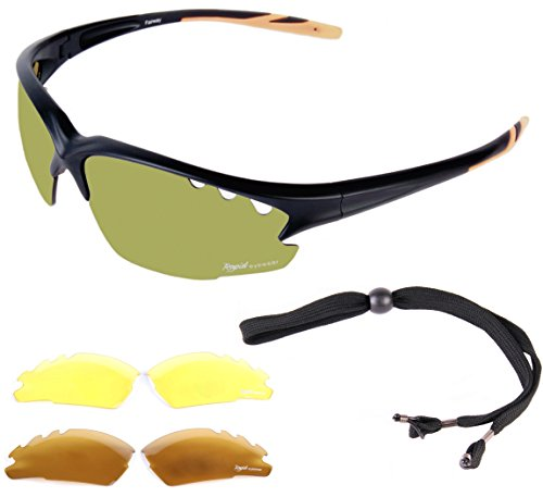 Rapid Eyewear Fairway Lightweight TR90 GOLF SUNGLASSES, with Interchangeable Anti Glare Lenses, including POLARIZED and Low-Light for Men & Women. UVA / UVB (UV400) Protection - For Best Golfers Sunglasses