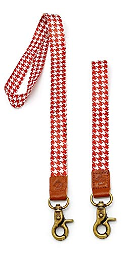 Happy Monkey Neck Lanyard Hand Wrist Lanyard Quality Strap with Metal Clasp and Genuine Leather for Key Chain/ID Card/Badge Holder etc Low Discount Deal(2Pack) (Red) ()
