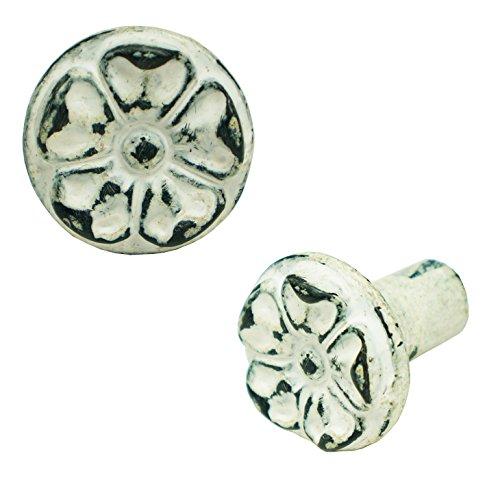 NACH pc-8012 Round Flower Knob Cast Iron White (Set of 6), 6 Piece