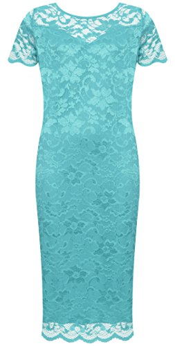 WearAll Plus Size Women's Lace Lined Short Sleeve Midi Dress - Turquoise - US 18-20 (UK -