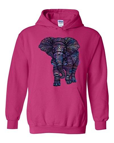Acacia Amazing Elephant Unisex Hoodie Sweatshirt Medium Heliconia Pink