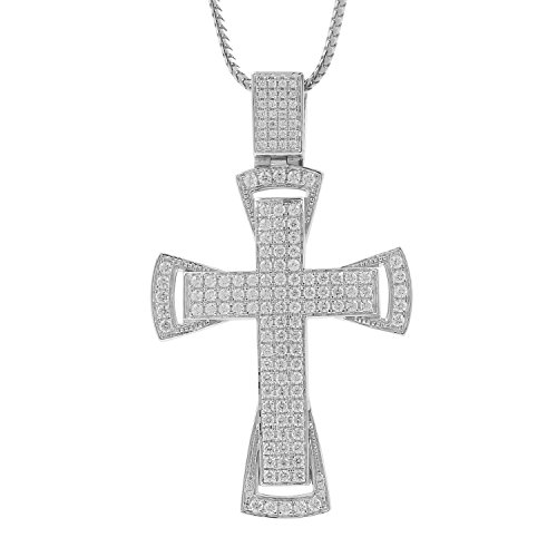 3.25 Carat 10kt White Gold Diamond Cross Religious Mens Hip Hop Pendant, 2 Inch by Isha Luxe