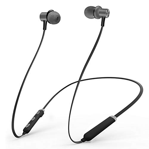 Bluetooth Headphones, Wireless Earbuds 4.2 Magnetic Bluetooth Earphones Lightweight & Sweat-Proof Earbuds with Mic, in-Ear Earphones Sports Compatible with iPhone and Android Phones (Gray)