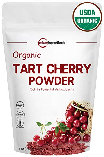Sustainably US Grown, Organic Tart Cherry Powder, 4 Ounce, Rich in Antioxidant, Uric Acid & Flavonoids, Strongly Promote Joint Health, Sleep Cycles & Muscle Recovery, Non-GMO & Vegan Friendly
