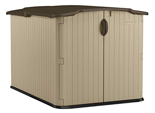 Suncast 6' x 4' Glidetop Horizontal Storage Shed - Natural Wood-like Outdoor Storage for Trash Cans and Yard Tools - All-Weather Resin Material, Slide Lid Design and Reinforced Floor - Brown from Suncast