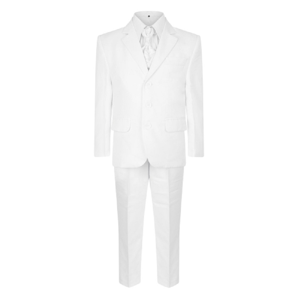 Boys 5 Piece Wedding Party Christening Baptism Prom Formal White Suit 1Y-15Y