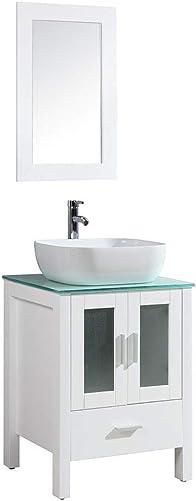 DodreHome 24″ Modern White Bathroom Vanity MDF Cabinet