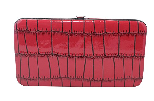 (Chicastic Faux Snakeskin Leather Flat Hard Case Clutch Wallet - Red Small)