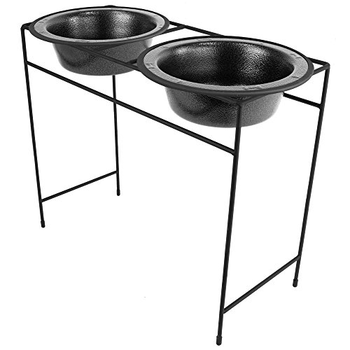 - Platinum Pets Modern Double Diner Feeder with Stainless Steel Cat/Dog Bowls, Silver Vein, X-Large