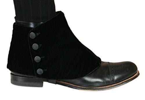 Historical Emporium Men's Premium Velvet Button Spats M Black