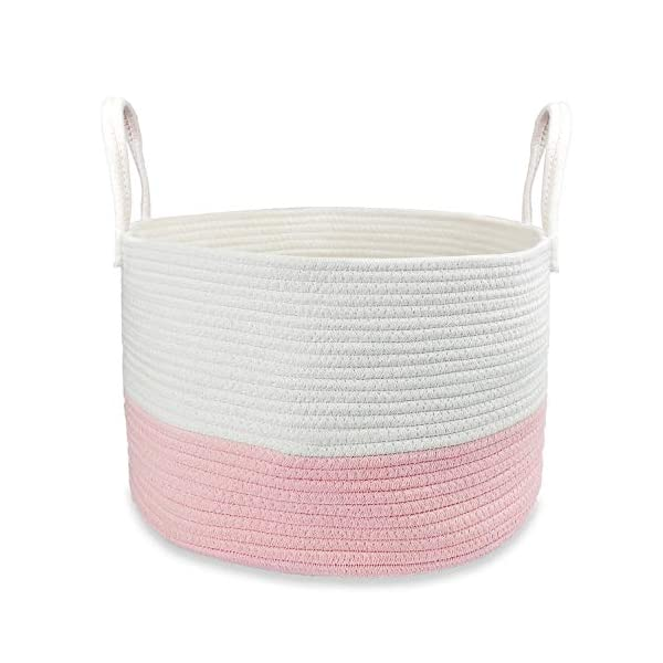 Cotton Rope Basket, Extra Large Decorative Hamper for Laundry, Toys, Blankets, Pillows, Comforter, Soft and Durable Woven Rope Bin with Long Handles, Cute Nursery Basket, Home Storage Container (Pink)