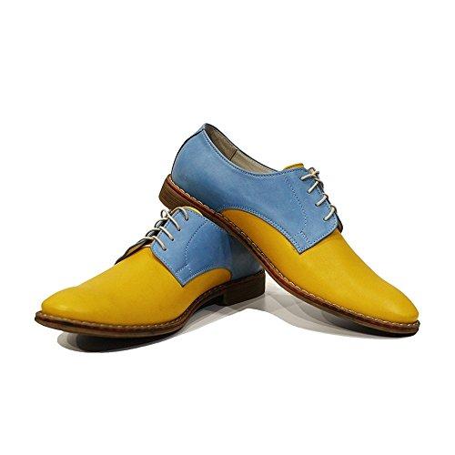 PeppeShoes Modello Gino - Handmade Italiano da Uomo in Pelle Giallo Scarpe da Sera - Vacchetta Pelle Morbido - Allacciare