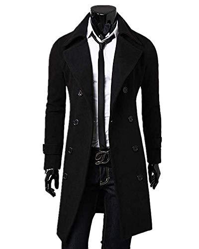 (Kalanman Men's Winter Slim Double Breasted Overcoat Long Trench Coat Jacket (US L(Label XXL), Black))